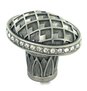 "1 1/4"" Oval Thames Knob in Burnish Silver with with Clear Swarovski"