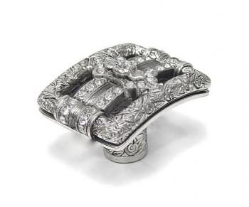 Kingsbury Knob with Clear Swarovski Crystal in Burnish Silver