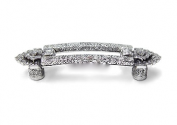 "3 1/2"" (89mm) Kingsbury Pull with Clear Swarovski Crystal in Burnish Silver"
