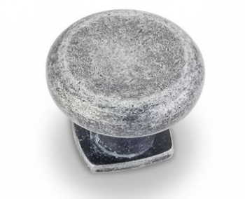 Swedish Iron Machined Dull Belcastel Collection Forged Look Flat Bottom Cabinet Knob 1-3/8 Inch Diameter