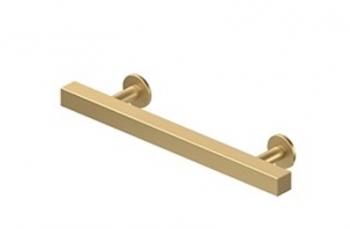 "POM40U4 - Brushed Brass CONTEMPORARY CABINET PULL 4""C.C , POMMEL, SOLID BRASS"